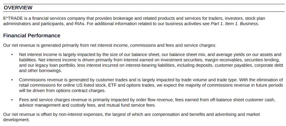 Etrade Revenue Model | ETrade Form 10-K